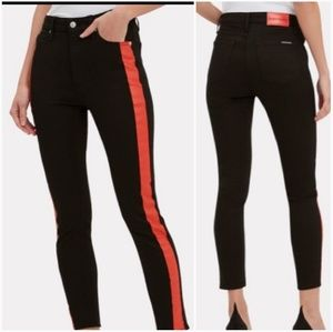 Calvin Klein W31 Black Red Side Stripe Jeans